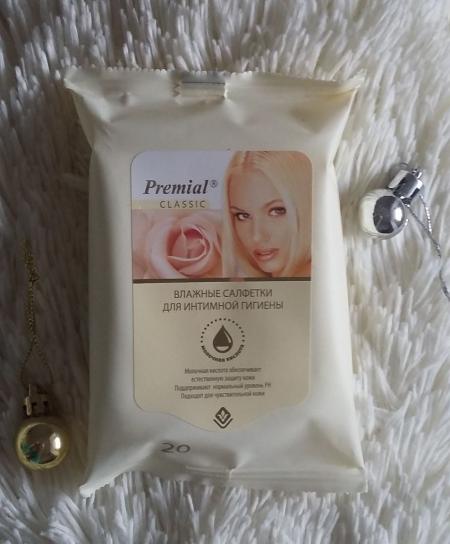 """Влажные салфетки для интимной гигиены """"Молочная кислота"""" от Premial Classic"""